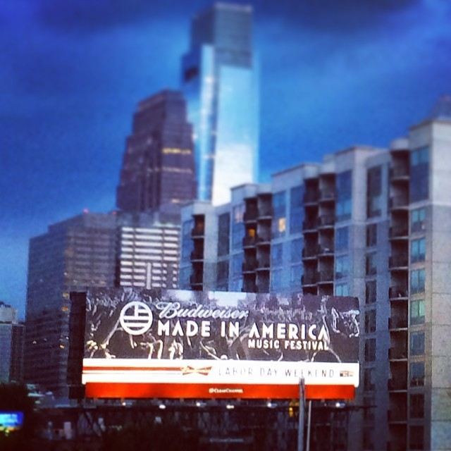 Photo of Deadmau5 from Made in America Festival 2013 used on a billboard in Center City, Philadelphia.