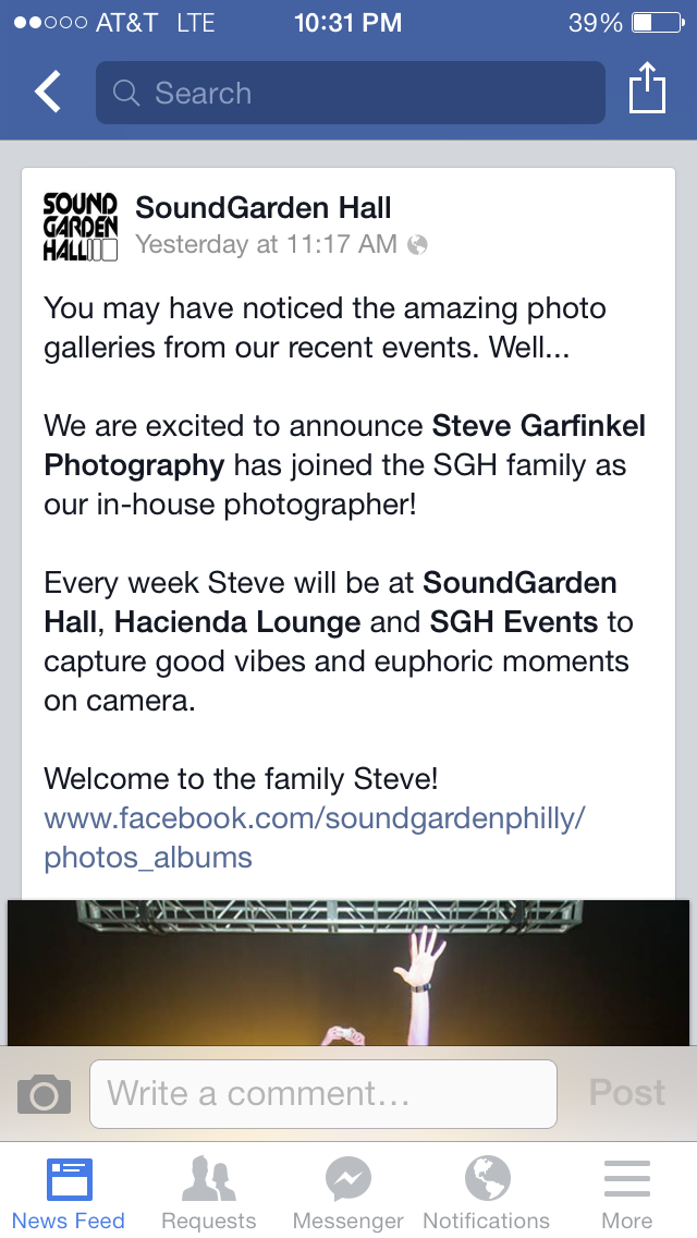 Soundgarden Hall announcing me as the house photographer
