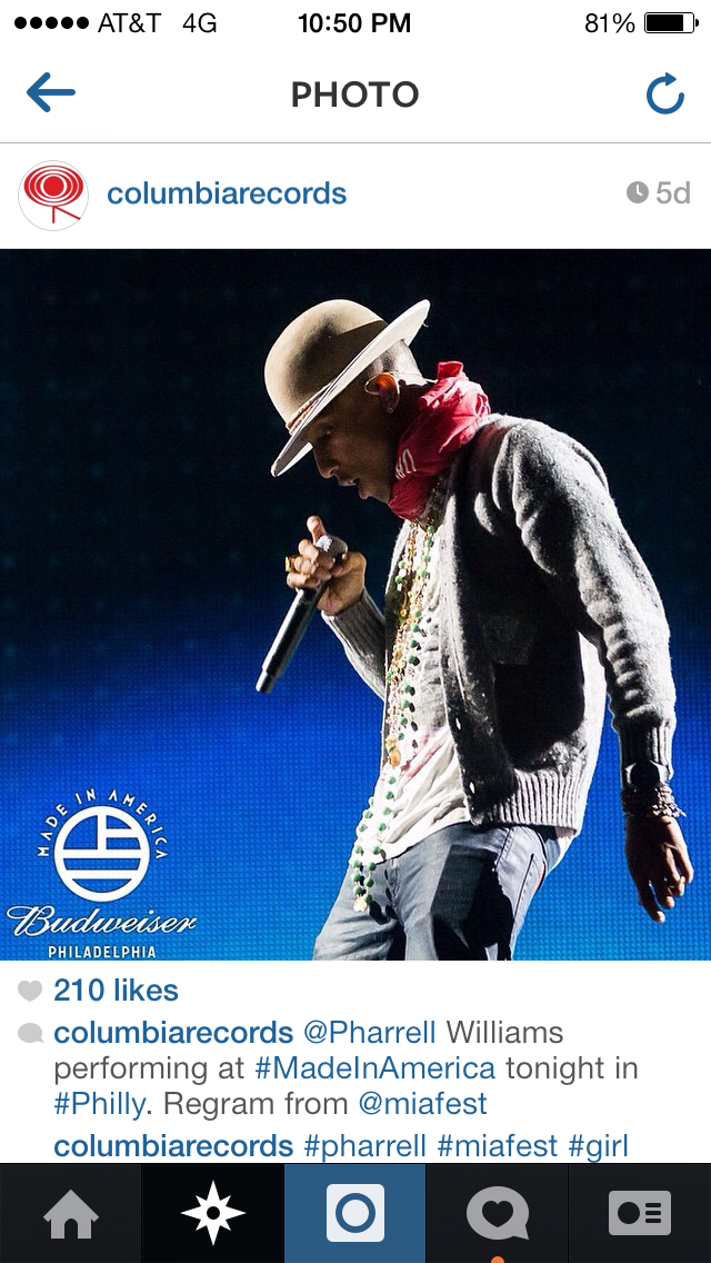 Columbia Records sharing my photo of Pharrell taken at Made in America Festival