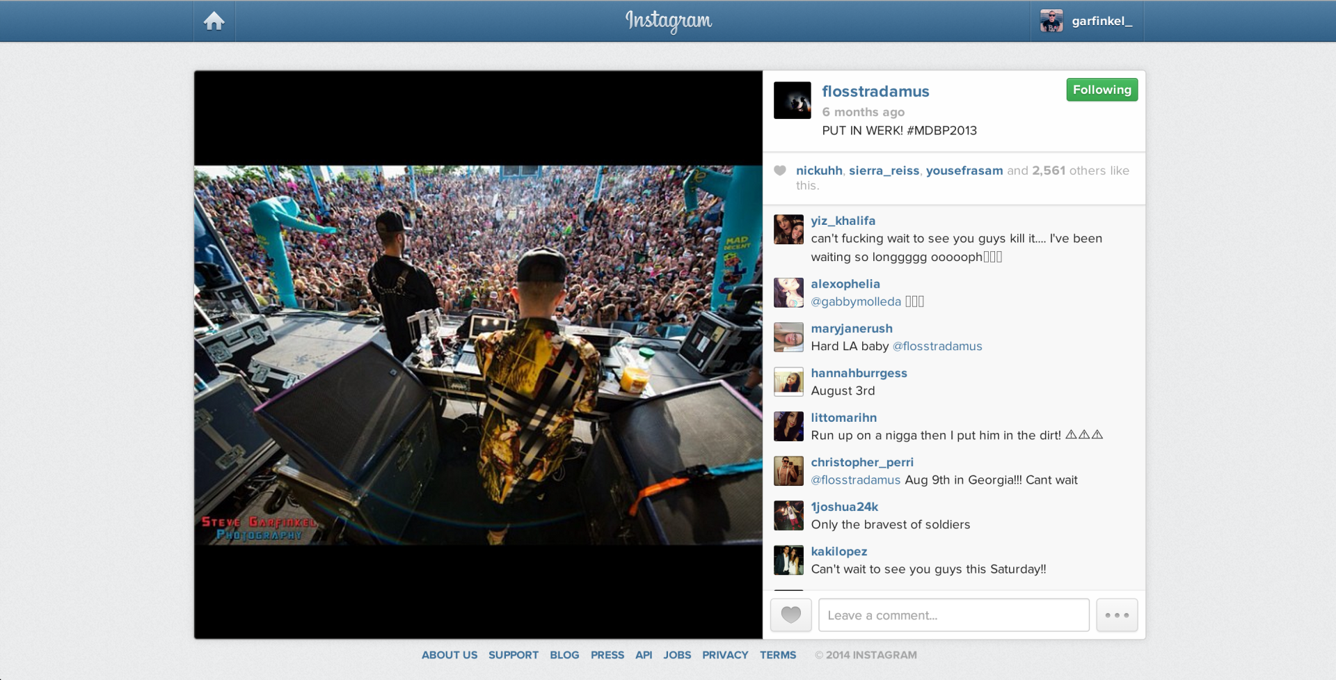 Flosstradamus sharing photos taken for them.