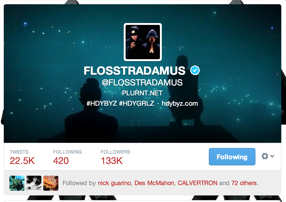 Flosstradamus using my photo as their Twitter cover photo.