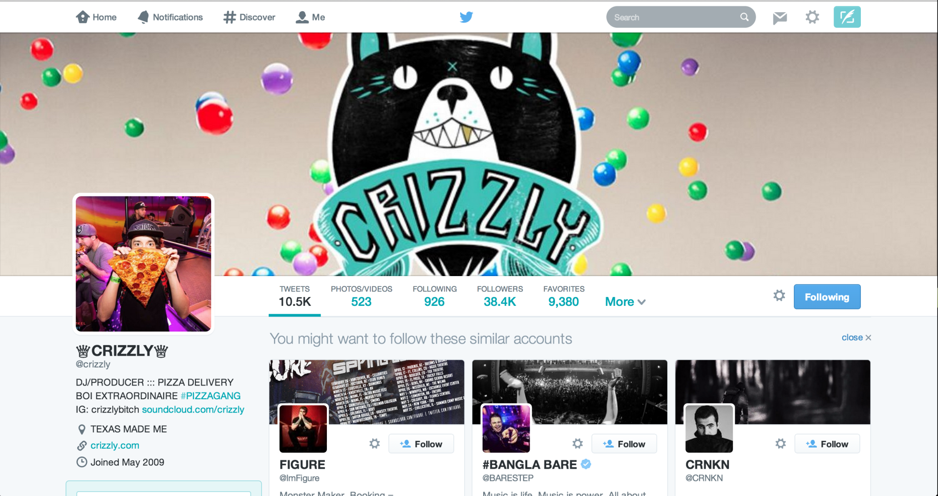 Crizzly using my photo as his Twitter profile photo.