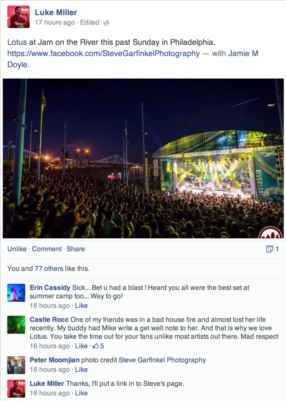 Luke Miller from the group Lotus sharing my images from Jam on the River.