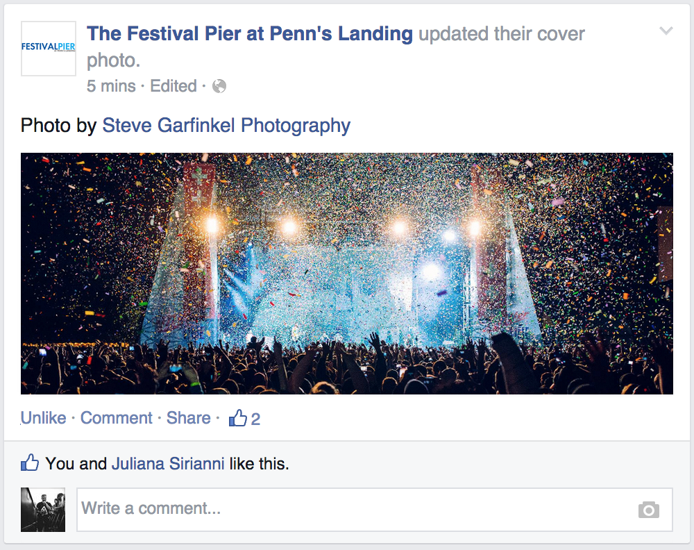 Live Nation venue Festival Pier using my image as their Facebook cover photo.