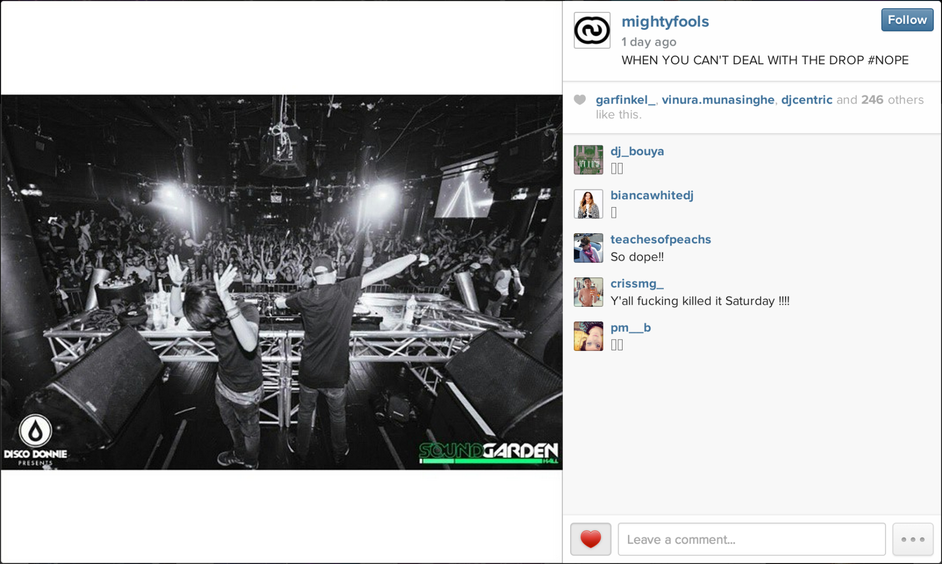 Mightyfools sharing my photo of them on their Instagram.