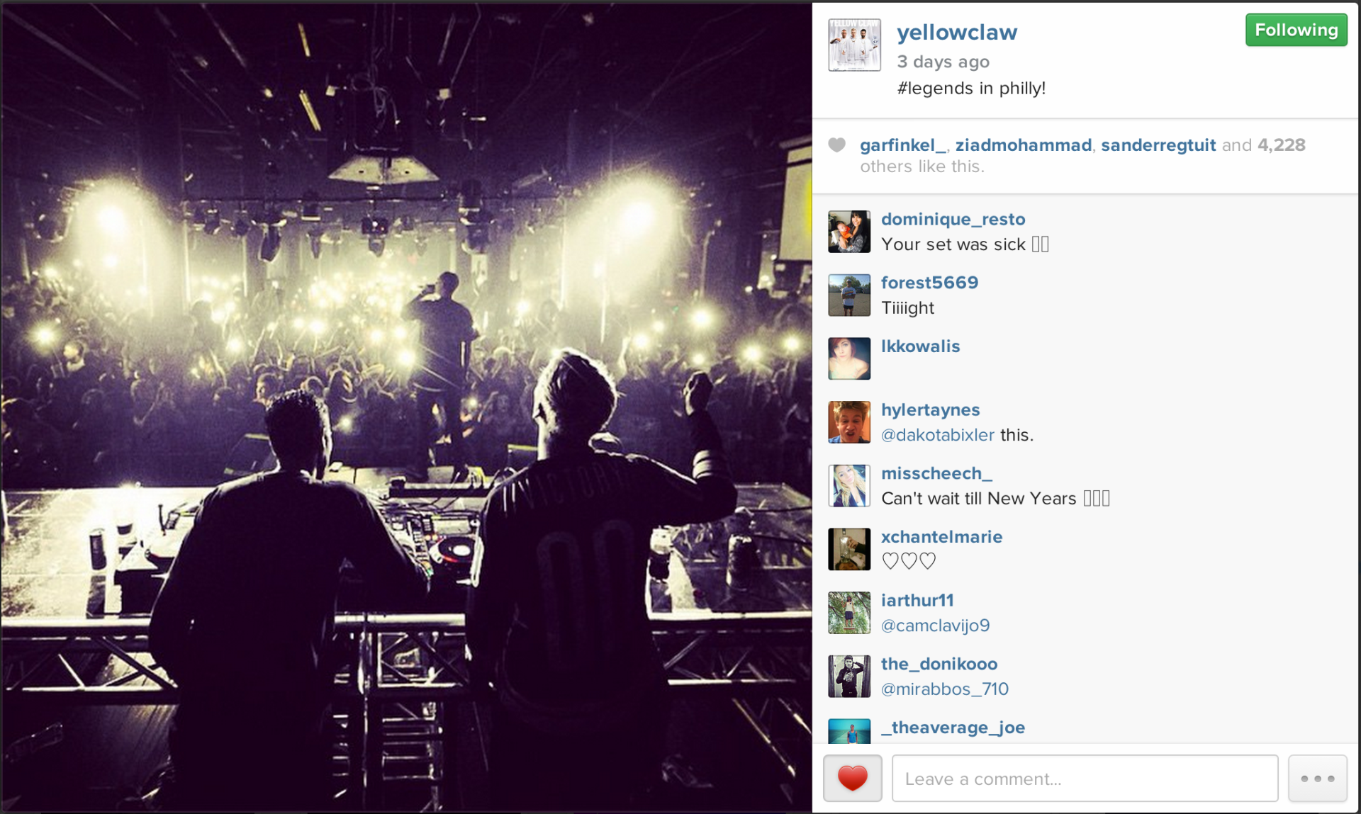 Yellowclaw sharing my photo of them on their Instagram.