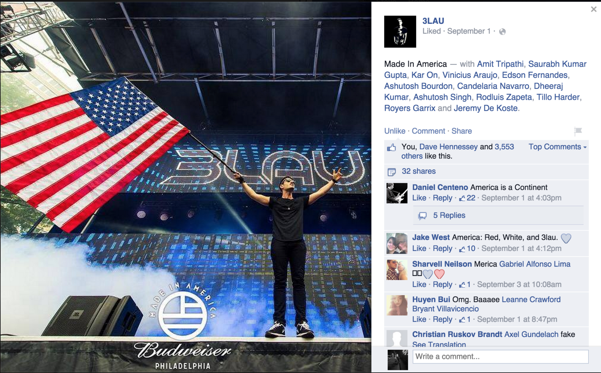 3LAU sharing my photo from Made in America Festival to Facebook.