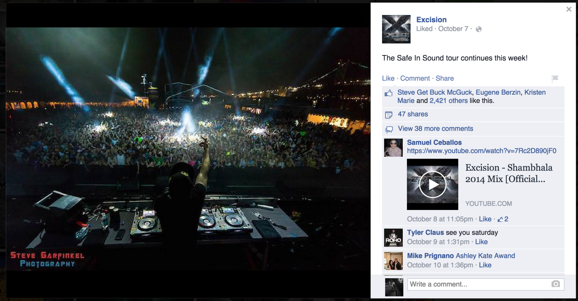 Excision sharing my photo from Safe in Sound Festival at Festival Pier to his Facebook.