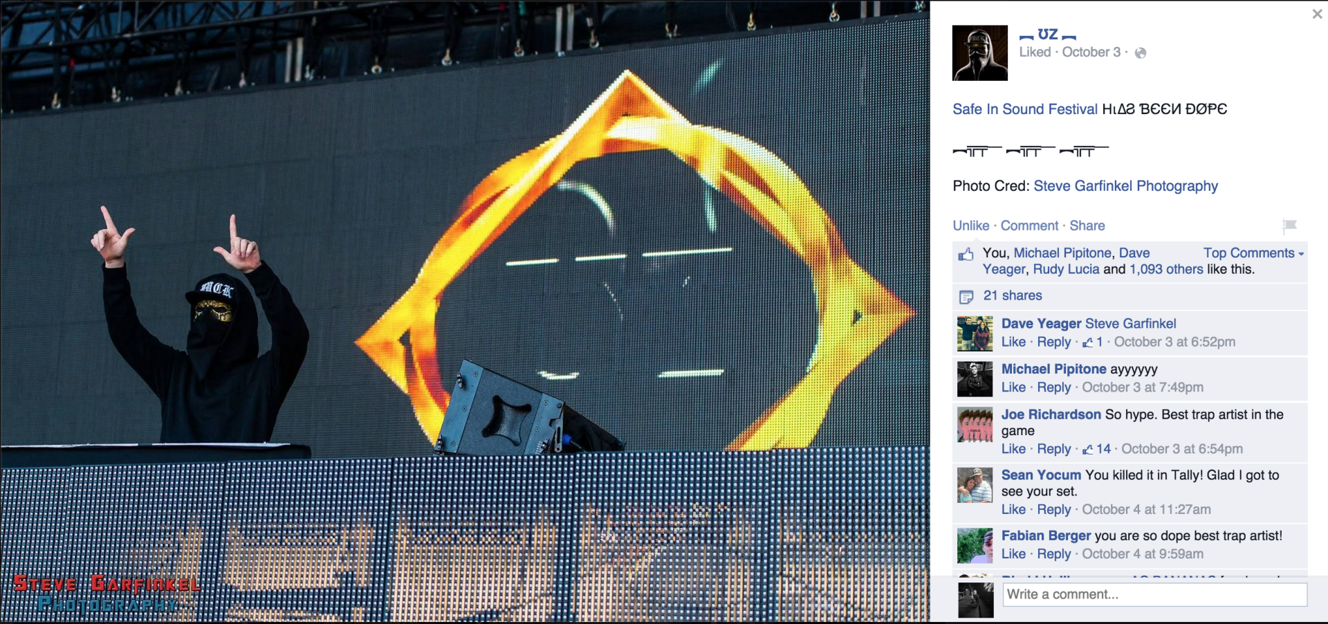 UZ sharing my photo from Safe in Sound Festival at Festival Pier.