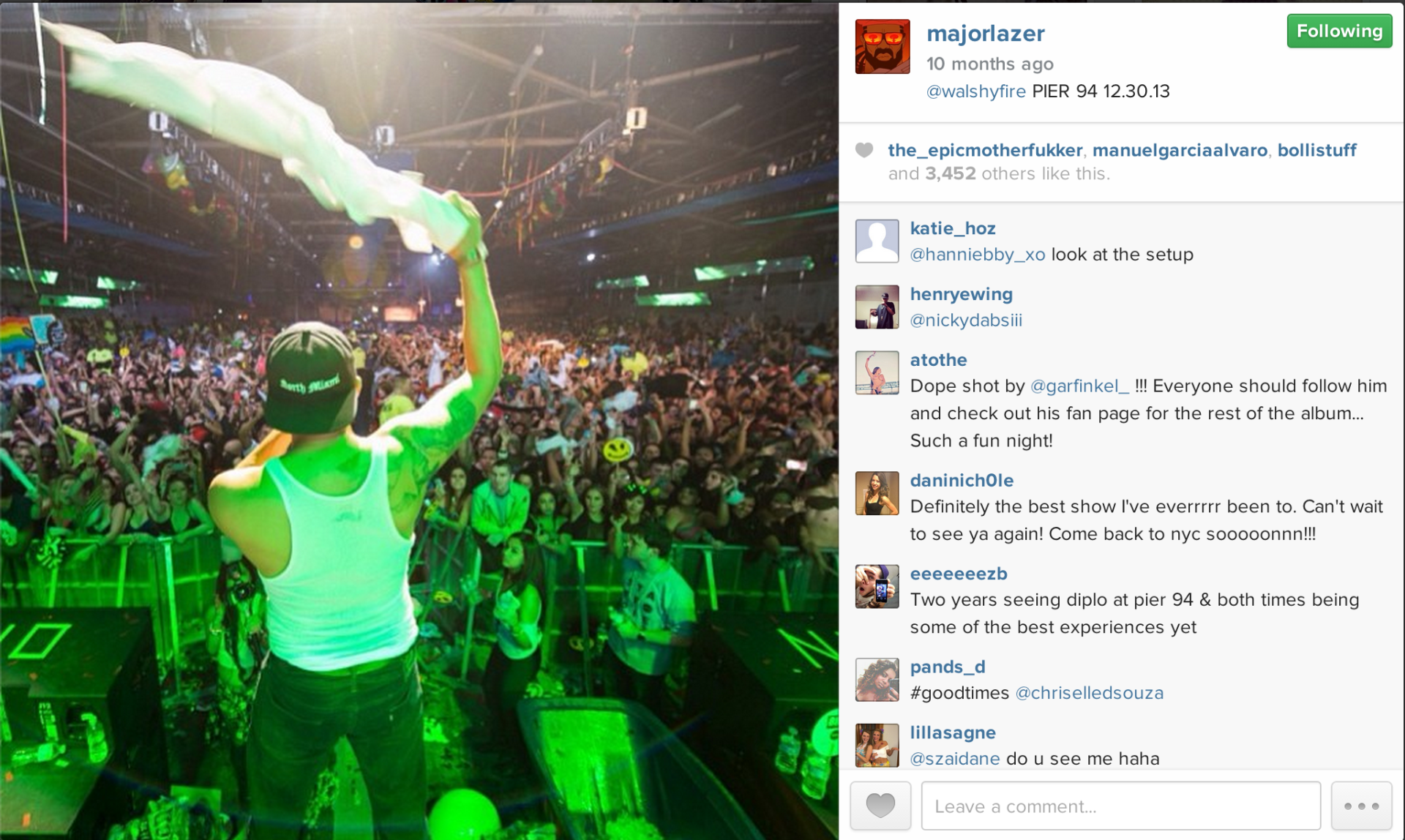 Major Lazer sharing my photo from their show at Pier 94 in NYC.